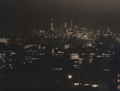 Paul J. Woolf, Untitled, c. 1935. Night time cityscape with tallest buildings in the background.