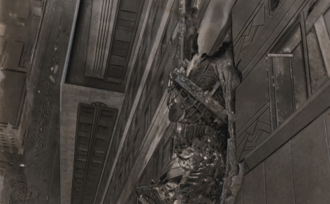 01. AP Wirephoto, Where bomber crashed into Empire State Building, 1945. Looking-down detail of damaged building facade with street below visible in left of frame.