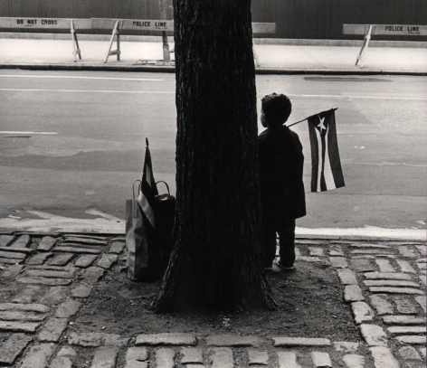 03. Beuford Smith, Boy Holding Flag, 1966. A young boy stands silhouetted beside a tree trunk, facing the street, a small Puerto Rican flag over his shoulder.