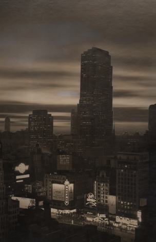 Paul J. Woolf, RCA Building from Times Square Montage, ​c. 1936. Night time cityscape with the lights of Times Square in the foreground and the tallest, central RCA Building in the center midground, an overcast sky behind it.