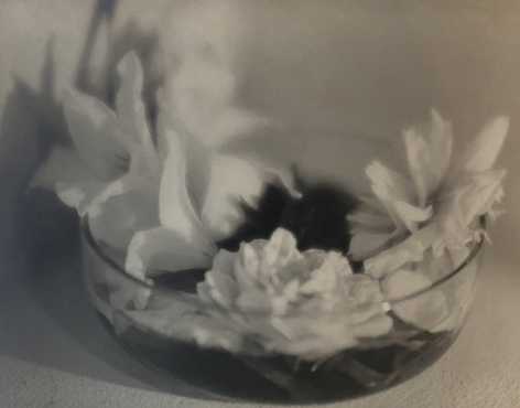 Daniel Masclet, Quelques Fleurs, 1927. A shallow glass bowl with a handful of white flowers.