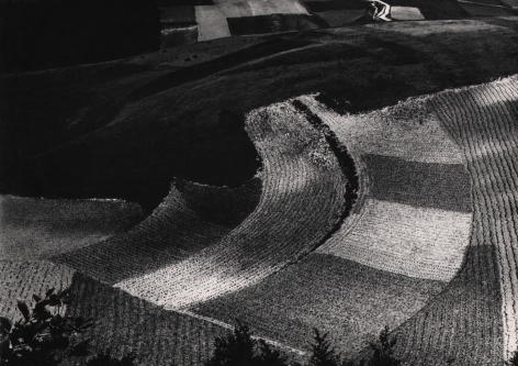 Mario Giacomelli, Metamorphosis of the Land, 1955–1968. Dark abstract landscape featuring curved square and rectangular sections of land.