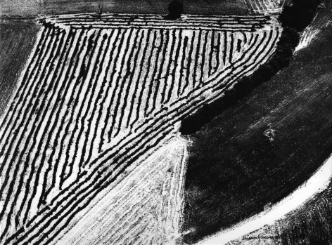 Mario Giacomelli, Medite, n.d. Abstract landscape divided into three sections: a striped triangle in the upper left, a white triangle in the lower left, and a black square section in the lower right.