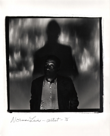 Anthony Barboza, Norman Lewis - Artist, 1976. Subject stands in the center of a square frame looking to the camera, his shadow tall behind him.