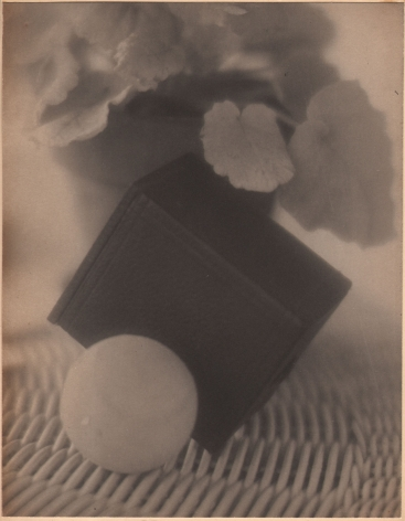 Bernard Shea Horne, Design, 1916–1917. Abstract composition featuring a black cube, a potted plant, and a ball on a woven basket-like surface.
