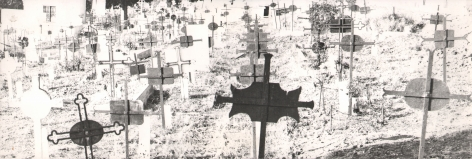 Mario Giacomelli, Paesaggio, n.d. Rows of metal cemetery crosses on a white field.