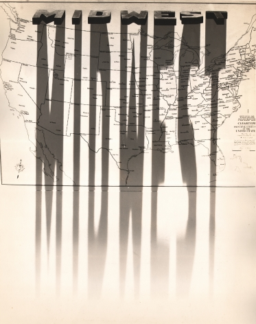 """Gordon Coster, Untitled, n.d. Long shadows cast the word """"Midwest"""" across a map of the United States."""