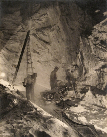 Harold Haliday Costain, The Undercutters at Work, Avery Island, Louisiana, 1934. Two men operate machinery in a mine.