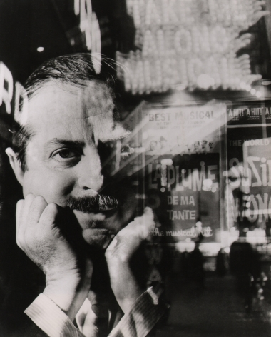 08. David Attie, David Merrick (Vogue Magazine), 1959. Multiple-exposure featuring a portrait of a man with head resting on his hands superimposed with Broadway marquees.