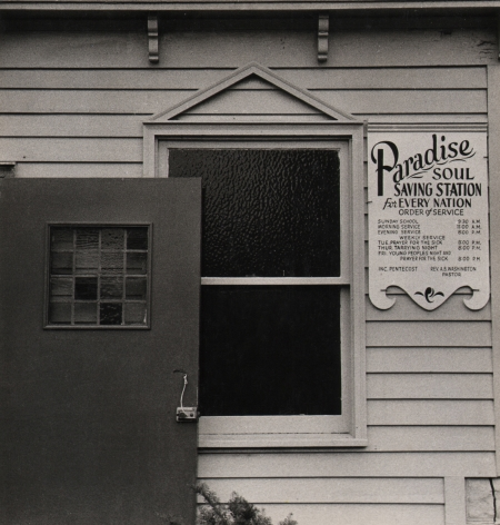 """05. Beuford Smith, Paradise Soul, Brooklyn, 1970. Detail of the window and door of a church marked by a sign: """"Paradise Soul Saving Station for Every Nation"""""""
