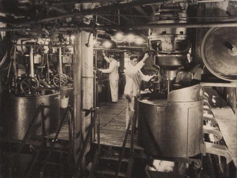 Harold Haliday Costain, Edgewater, NJ Sugar Refinery, 1935. Two men in white operate machinery.