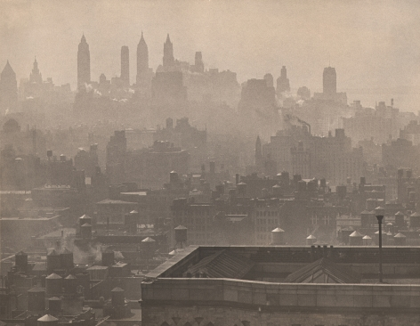 Paul J. Woolf, City Symphony, ​c. 1935. Hazy cityscape with a nearby rooftop in the foreground right and semi-obscured skyscrapers silhouetted in the mid- and background.