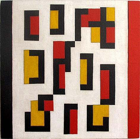 Composition Red, Yellow Black, 1948, oil on wood panel, 12 x 12 in.