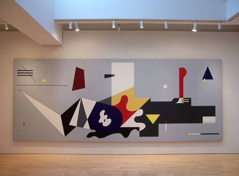 "Installation view of the ""WPA Mural, Williamsburg Houses Brooklyn,"" 1936-1980, liquitex on canvas, 6'10"" x 17'"