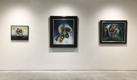 (From Left) Bateau Ivre, 1942, oil on canvas, 20 x 24 in., Le Rêve de Pegase, 1946, oil on canvas, 36 x 30 in., Corte d'Appello, 1945, oil on canvas, 25 x 30 in.