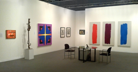 """(from left) Alice Trumbull Mason, """"Fire Festival,"""" 1951, oil on rayon, 16 x 20 in., Richard Stankiewicz, Untitled, n.d., steel, 67 x 8 x 9 in., Jack Youngerman, """"Bluefoil,"""" 2011, oil on Baltic birch plywood, 60 x 60 in., Two signed screenprints from 1951 by Jackson Pollock, Untitled (After CR#340), Untitled (After CR#333), Jackson Pollock, Untitled (Equine III), c. 1944, oil on canvas, 13 x 18 in. CR#119, Ray Parker, Untitled (Triptych), 1963, oil on canvas, each canvas: 74 x 36 in., overall: 74 x 138 in."""