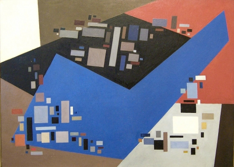 Small Forms Serving Against Large, 1949, oil on canvas, 26.2 x 36.2 in. by Alice Trumbull Mason