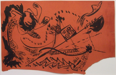 Untitled, c. 1946, brushed black india ink on orange paper, 11 5/8 x 18 in.  CR 763