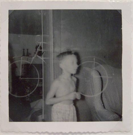 Boy with Bike (Double Exposure), 1960s, 3 1/2 x 3 1/2 in.