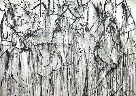 Shadow Dance, 2007, acrylic on canvas, 84 x 19 3/4 in.