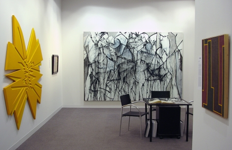 """(From Left) """"Crosscut II,"""" 2003, oil on Baltic Birch plywood, 76 x 80 x 1 1/4 in., Nicolas Carone,Untitled, 2008, acrylic on canvas, 84 x 120 in., Myron Stout,Untitled, 1950 (April 13), oil on canvasboard, 20 x 16 in."""