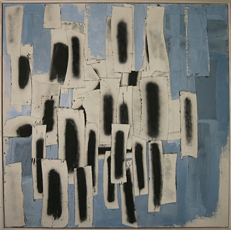 """Conrad Marca-Relli, """"February 22,"""" 1960, oil and canvas collage on canvas, 71 1/4 x 71 1/4 in."""