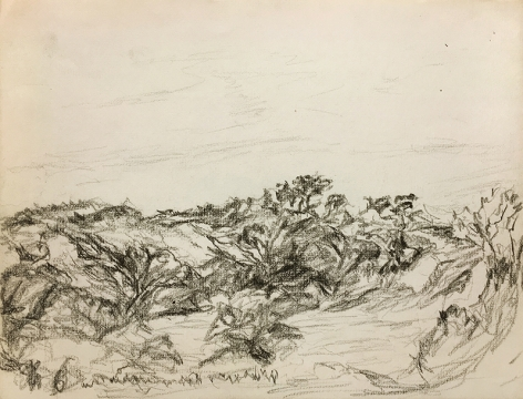 Myron Stout, Untitled, 8-8-53, black conte pencil on paper, 9 x 12 in.