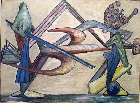 David Smith, Cello Player, c. 1946, oil on masonite, 22 11/16 x 30 1/2