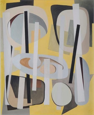 Bearings Charted with Yellow, 1946, oil on masonite, 28 x 23 in. by Alice Trumbull Mason