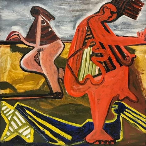 David Smith, Untitled (Bathers), 1934, oil on canvas, 17 1/4 x 16 in., Courtesy The Estate of David Smith and Hauser & Wirth, (c) The Estate of David Smith, licensed by VAGA, New York, NY