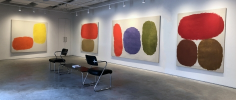 (from left) Untitled, 1960, oil o ncanvas, 68 1/4 x 77 1/4 in., Untitled, 1966, oil on canvas, 67 1/2 x 64 in., Untitled, 1958, oil on cnavas, 69 x 92 5/8 in., Untitled, 1959, oil on canvas, 69 1/4 x 62 3/4 in.