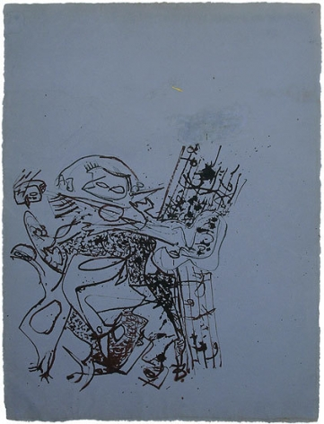 Untitled, c. 1945, brown ink on blue paper, 27 1/4 x 20 1/4 in.  CR 748