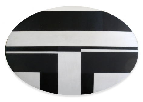 "Ilya Bolotowsky, ""Black and White Elipse,"" 1963, oil on canvas, 30 x 47 in."