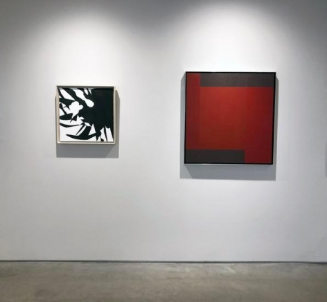 JACK YOUNGERMAN, Mamba, 1961, oil on canvas, 19 1/2 x 19 1/2 in., DOUG OHLSON, Untitled, 1979, acrylic on canvas, 33 1/4 x 32 in.