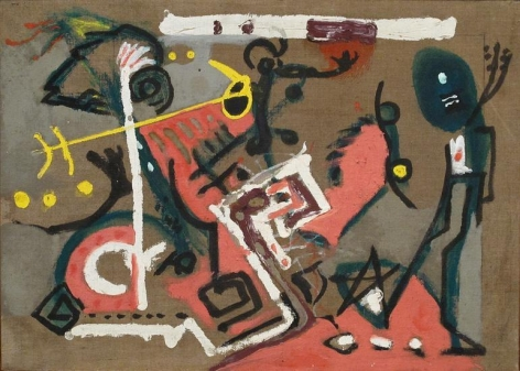 Jackson Pollock, Untitled (Composition on Brown), c. 1945, oil on brown canvas, 15 1/8 x 21 1/8 in., CR132