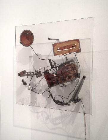 Jean Tinguely, Untitled, 1962, Steel, wire, electric motor, transistor radio, light bulb, lucite, 24 x 24 x 6 3/4 in.