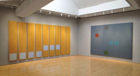 """Installation view, """"Doug Ohlson: Panel Paintings from the 1960s,"""" Washburn Gallery, New York, February 5 - March 28, 2015"""