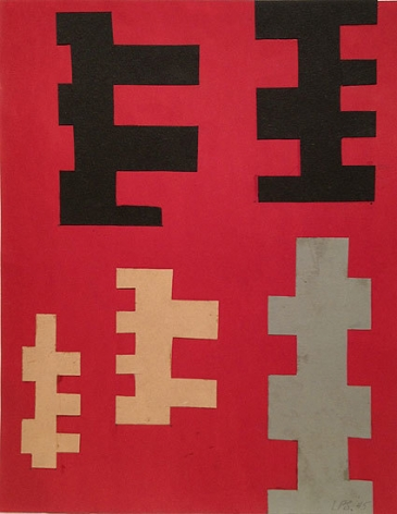 Untitled, 1945, colored paper on paper, 13 1/2 x 11 in.