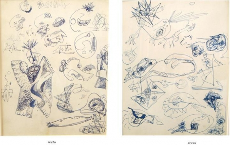 Untitled, c. 1939-42, pen and blue ink with touches of brown crayon on paper, 13 x 10 3/8 in.CR578