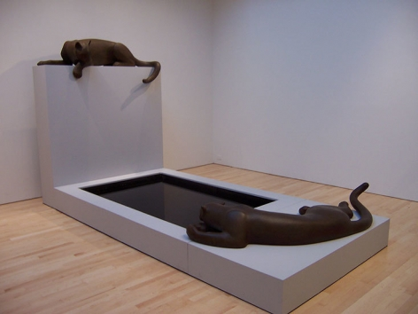 Cougar Pond, 2005, bronze, wood, water, 76 x 72 x 137 in.