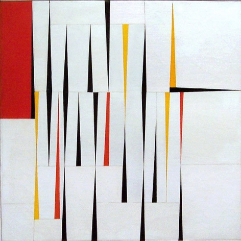 """Pointed Accents #1, 1945, oil on canvas, 36 x 36 in., Inscribed verso: """"Suggested by Indian sand drawings, N. Mexico"""""""