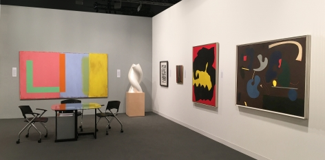 """(from Left) Doug Ohlson, """"Bridgehampton,"""" 1987-88, acrylic and oil on canvas, 60 x 108 in., Jack Youngerman, """"Pearl Gemini,"""" 1993-2014, polystyrene resin sprayed with pearlescent paint, 38 x 18 x 18 in., Jackson Pollock, Untitled (After CR340), 1951, screenprint, ed. 16/25, 29 x 23 in., Myron Stout, Untiled, 1950 (April 13), oil on canvasboard, 20 x 16 in., Jack Youngerman, Untitled, c. 1961, oil on canvas, 25 5/8 x x 21 1/4 in., Ilya Bolotowsky, """"Umber,"""" 1938-39, oil on canvas, 44 x 60 in."""
