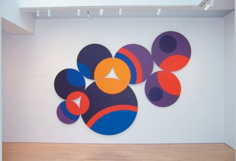 Constellation Twelve Circles, 1969, acrylic on canvas, 102 x 146 in.  (Installation view)