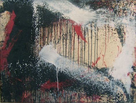 """Norman Bluhm, """"Winter,"""" 1961, oil and paper mounted on canvas, 28 x 36 in."""