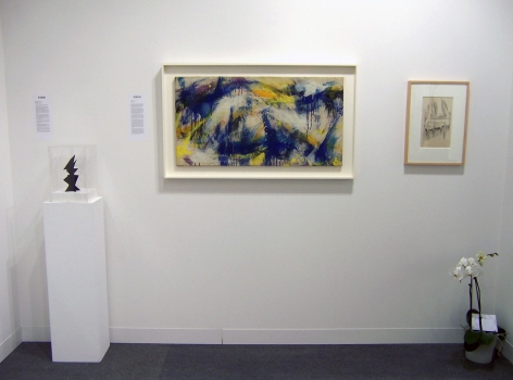 """(from Left) Alexander Calder,Maquette for """"Hard to Swallow,"""" 1966, painted steel, 8 1/8 x 4 3/4 in., Norman Bluhm, """"Northern Light,"""" 1959, oil on canvas, 20 x 37 3/4 in., Mark Rothko, Untitled (Recto-Verso Sketch), n.d., pencil and ink on paper, 23 1/4 x 30 in."""