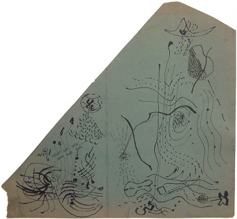 Untitled, c. 1945 black ink on green paper, 13 5/8 x 14 7/8 in.  CR 749