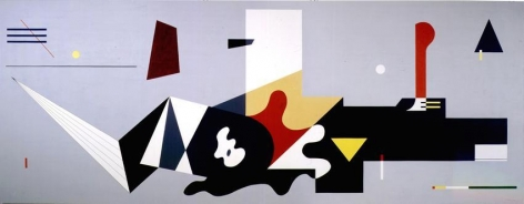 """Bolotowsky, """"Mural for Williamsburg Housing Project,"""" full-scale reconstruction, 1980, Liquitex on canvas, 6'10"""" x 17 '"""