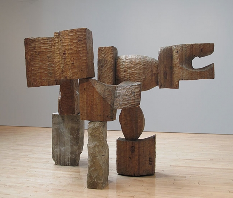 George Sugarman, Cornerstone, c. 1959, carved wood and cement,            55 x 75 x 44 in.