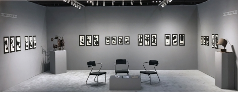 Installation view, Richard Stankiewicz: Sumi Ink Drawings from 1960 with Sculpture, Booth C6