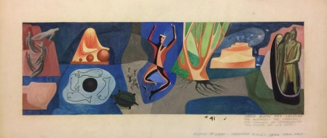Reuben Kadish, Untitled (Mural Study), Graphite and gouache on paper, 10 3/4 x 24 1/2 in.